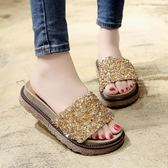 亮片涼拖鞋女時尚外穿新款韓版百搭一字拖厚底沙灘鞋女鞋子     初語生活