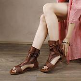 真皮綁帶涼靴 高幫涼鞋 後拉鏈魚嘴鞋-標準碼-夢想家-0303