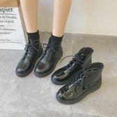 2019春季新款 黑色機車馬丁靴女 英倫 系帶漆皮粗跟短靴