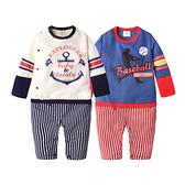 長袖連身衣 假3件 美式印花 棒球 海錨 條紋爬服 哈衣 男寶寶 Augelute Baby 50453