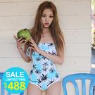 Qmigirl 椰子樹圖案荷葉邊連身泳裝【WET359】