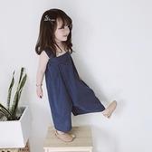 豆包君夏季韓國女童寶寶洋氣透氣連體褲寬管褲寬鬆格子吊帶褲