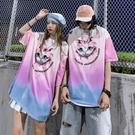 2021情侶女歐美寬鬆短袖T恤 印花嘻哈潮牌體恤T恤 街頭潮流高街T恤 男生個性貓咪中袖T恤