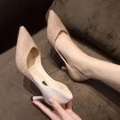 單鞋2021新款新娘伴娘鞋子網紅百搭亮片尖頭香檳色性感細跟高跟鞋 快速出貨