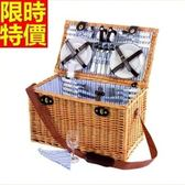 野餐籃 餐具組合-戶外六人簡約藍白條郊遊用品68e17[時尚巴黎]