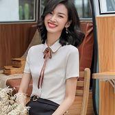 撞色娃娃領上班/面試職場短袖襯衫上衣(不含領結)[9S073-PF]小三衣藏
