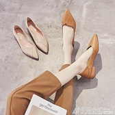 單鞋女夏百搭尖頭平底英倫風軟底淺口低跟年夏季新款潮流鞋子 格蘭小舖 全館5折起