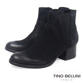 Tino Bellini義大利進口仿舊擦色中跟切爾西靴_ 黑  B69027 歐洲進口款