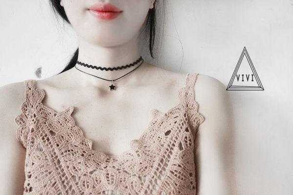 雙層簡約脖子飾品脖鍊黑色正韓短版頸鍊頸帶項圈女鎖骨項鍊
