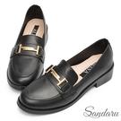 樂福鞋 經典色系馬銜釦低跟鞋-黑