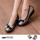 [Here Shoes] 增高5cm 舒適乳膠鞋墊 奢華水鑽蝴蝶結楔型厚底包鞋 ◆MIT台灣製─KI850