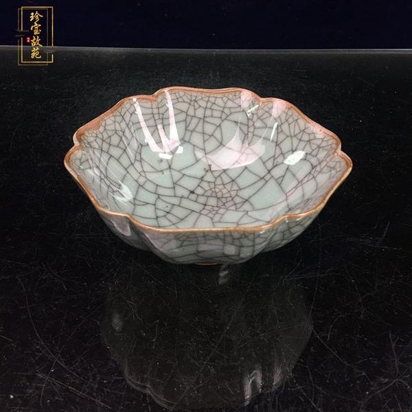 景德鎮仿古瓷碗家居博古架裝飾雙魚開片哥窯裂紋瓷碗