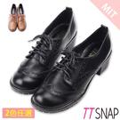 紳士鞋-TTSNAP雕花文青綁帶中跟鞋 黑/棕