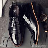 皮鞋男士商務正裝黑色漆男秋季潮鞋英倫尖頭休閒內增高男鞋子 蘿莉小腳ㄚ