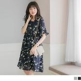 《MA0237》浪漫花朵荷葉袖V領綁帶孕婦洋裝 OrangeBear