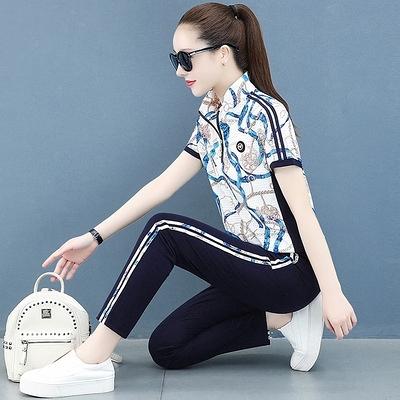 韓版顯瘦運動套裝女短袖夏季套裝女時尚洋氣冰絲套裝女新款兩件套T122-D1胖妞衣櫥