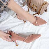 韓版百搭春季高跟鞋女2019新款尖頭細跟6cm少女公主伴娘鞋貓跟鞋