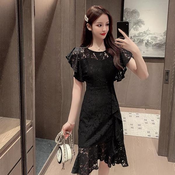 短袖洋裝 氣質連身裙女神範大碼女裝蕾絲拼接夏裝修身顯瘦晚禮服魚尾裙子女