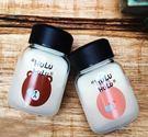 水杯   HuLu可愛小熊兔子迷你玻璃杯370ml 寬口杯 茶葉 水杯 隨手杯  隨行杯  【KCG081】-收納女王