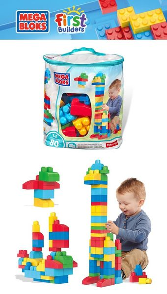 5月特價 MEGA BLOKS 美高 80片積木袋(藍) TOYeGO 玩具e哥
