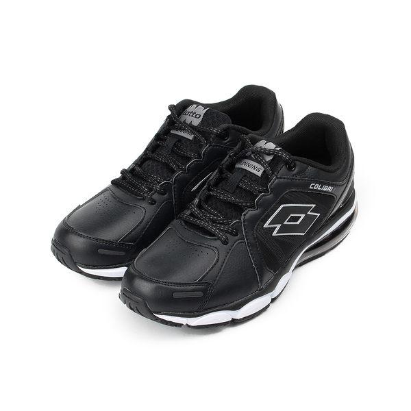LOTTO 輕量皮面大氣墊跑鞋 黑 LT7AMR5330 男