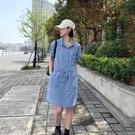 抽繩抽繩牛仔洋裝連身裙【88-16-8110653-21】ibella 艾貝拉