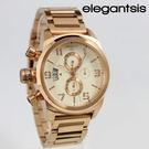 【萬年鐘錶】elegantsis  三眼  強悍 磨登 展現獨立個性風格女錶 粉玫瑰金 43mm  ELJT48S-OO11MA