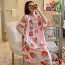棉綢睡裙女夏季薄款中長款甜美孕婦睡衣人造棉大碼短袖綿綢家居服 一米陽光