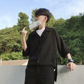 休閒襯衫男七分袖韓版夏季寬松中袖襯衣純色上衣 優家小鋪
