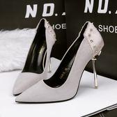 鉚釘尖頭鞋子 低幫高跟鞋 細跟OL時尚休閒鞋子《小師妹》sm1366