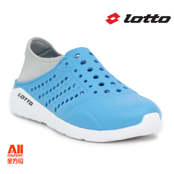 【LOTTO】男女款 世足特別款 潮流洞洞鞋-水藍(L6757)  全方位跑步概念館