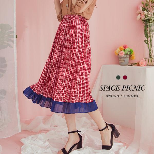 長裙 Space Picnic|撞色不規則幾何造型百摺長裙(現+預)【C19033078】