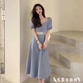 短袖洋裝 法式復古泡泡袖連身裙女夏季2021新款設計感小眾收腰顯瘦短袖裙子 艾家