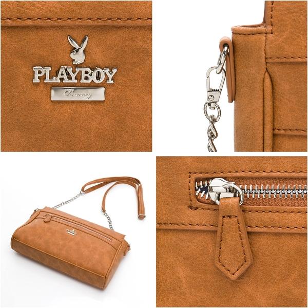 PLAYBOY- 斜背包 經典兔頭系列-黃褐色