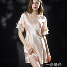新款睡衣女夏睡裙絲綢短袖冰絲連衣裙蕾絲家居服大碼睡衣女200斤 一米陽光