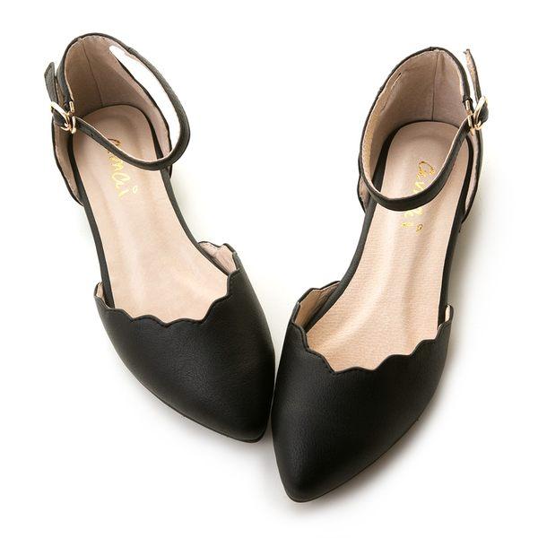 amai唯美花邊尖頭瑪莉珍平底鞋 黑