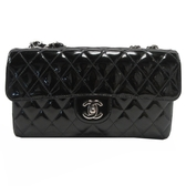 CHANEL 香奈兒 黑色菱格漆皮鏈帶包 Classic Flap Shoulder Bag【BRAND OFF】