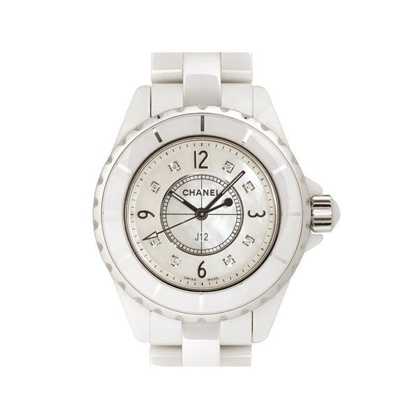 【特價23%OFF】CHANEL 香奈兒 白色陶瓷8P鑽貝殼面石英腕錶 J12 H2422 【BRAND OFF】