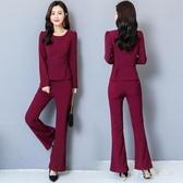 大碼套裝秋季新款西裝氣質職業套裝女時尚OL顯瘦洋氣喇叭褲兩件套 yu8287『愛尚生活館』
