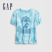 Gap男童 純棉紮染印花短袖T恤 689818-藍色紮染