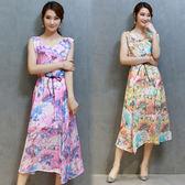 【韓國KW】(現貨在台)-M-XL-夏季修身顯瘦印花無袖洋裝