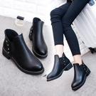 短靴 女春秋中跟新款套腳百搭圓頭馬丁靴冬單靴粗跟短筒及裸靴 - 巴黎衣櫃