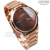 LOVME 紳士 城市簡約風時刻腕錶 防水男錶 玫瑰金電鍍x咖啡 不銹鋼 VS0072M-44-C41