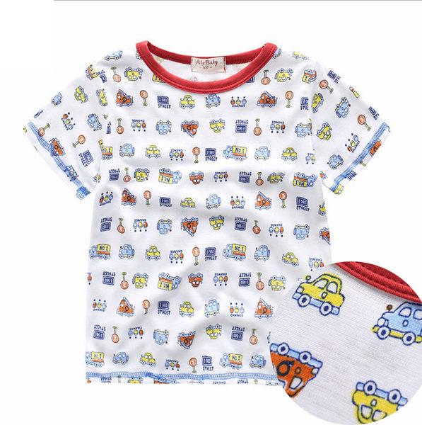 童褲 交通滿印透氣超柔網眼短袖上衣 橘魔法 Baby magic 現貨 兒童 童裝