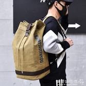 雙肩水桶圓桶背包帆布男大容量行李戶外旅行登山運動籃球學生書包igo  歐韓流行館