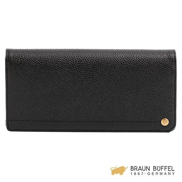 【BRAUN BUFFEL】珍妮絲系列18卡兩折長夾 - 黑色 BF609-210-BK