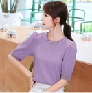 上衣短T~圓領上衣~811雪紡衫女紫色小衫蕾絲超仙泡泡紗上衣.T517A日韓屋