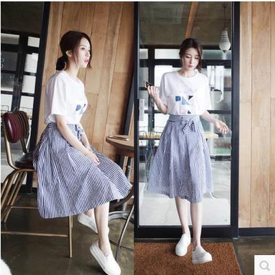 【GZ7R】韓版小清新A字裙子兩件套時尚顯瘦學生連身裙套裝洋裝