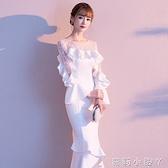 白色晚禮服女2020新款高貴宴會主持人長款顯瘦名媛氣質魚尾洋裝 蘿莉小腳丫