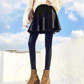 中大尺碼打底褲假兩件裙褲女外穿加絨加厚帶顯瘦百褶踩腳 js10961『黑色妹妹』